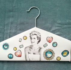 Bedazzle, colour, paint your own paper Princess Diana coat hanger cover. www.speckled.com.au/printables