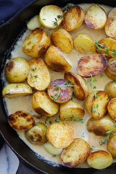 Creamy Garlic Thyme Potatoes - the best and easiest potatoes with garlic thyme in buttery and creamy sauce. A perfect side dish | rasamalaysia.com