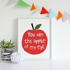You Are The Apple Of My Eye, cute typography print with hand lettering. Quote print for loved ones Hand Drawn Fonts, Hand Lettering Quotes, Typography Prints, Quote Prints, Poster Prints, Art Wall Kids, Wall Art Sets, Nursery Prints, Nursery Art