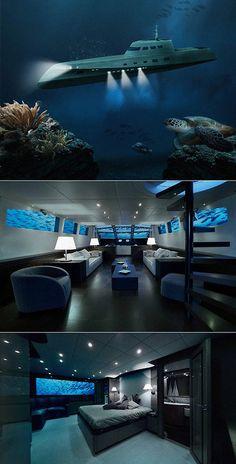 海で骨抜き:29万ドル/泊の高級潜水艦| Geekologie