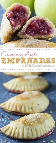Cranberry Apple Empanadas - cranberry and apple pie filling wrapped in flaky buttery crust. OMGChocolateDesserts.com #cranberry #apple #empanadas