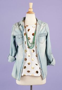 Gold Polka dot White Chambray Turquoise Outfit