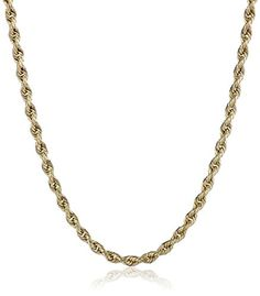 10k Yellow Gold 2.0mm Hollow Rope Chain Necklace - Jewelry For Her