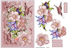 Floral Spray and butterfly card with decoupage