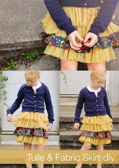 Fabric and Tulle Skirt DIY - pattern sizes for girls 2 thru 8 #sewyourstyle