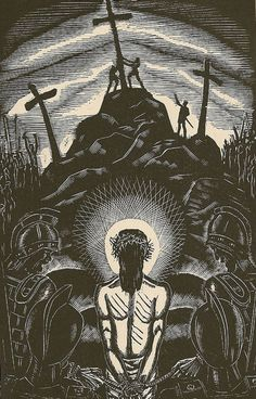 """Jesus Is Stripped of His Garments"" by James Reid; From the Life of Christ in Woodcuts by James Reid (Farrar & Rinehart, Inc. Religious Images, Religious Art, Jesus Art, Jesus Christ, Christ The King, Religious Paintings, Biblical Art, Desenho Tattoo, Art Thou"