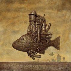 "emporioefikz: """"Steam Fish"" 15""x15"" acrylic on board - Franck Walls """