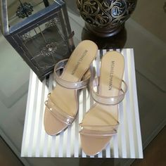 NEW Michael Shannon Shoes Beautiful beige slides with clear straps Michael Shannon  Shoes Heels