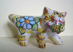 Pavlovskaya Natasha Pavlova Russian Pottery Majolica Cat with Fish