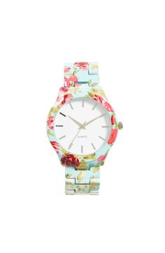 This mint floral watch is gorgeous with white tee and jeans.