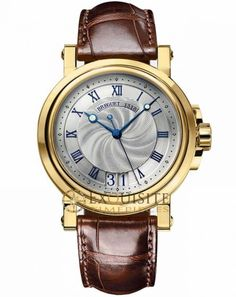 Breguet Marine 5817BA/12/9V8.arine wristwatch in 18-carat yellow gold.Automatic movement. Engine-turned dial in silvered, 18-carat gold. Chapter ring with BREGUET roman numerals and luminous minute-markers. Large date at 6 o'clock. Luminous BREGUET facetted open-tipped hands in 18K gold. Engine-turned caseback with sapphire crystal. 65 hours power reserve. Water-resistant to 100M.