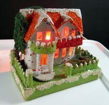 Lot I ~ vtg Cardboard House for Christmas village / putz * Coconut Mica * JAPAN