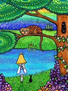 Alice in Wonderland with The Cheshire Cat Through The Looking Glass, Illustration, Drawings, Cat Art, Painting, Art, Pictures, Cat Drawing, Alice In Wonderland