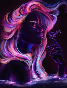 art oscuro Blacklight babe Digital Painting C - art Art And Illustration, Cartoon Kunst, Cartoon Art, Dark Art Drawings, Art Drawings Sketches, Drawing Faces, Art Pop, Art Magique, Fantasy Kunst