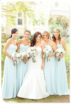 Bridesmaid dresses love the color, would use white tulips, and light blue calily for the bride?