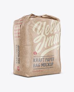 Kraft Paper Bag Mockup – Halfside View