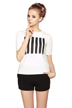 White Short Sleeve Strip Tee with Black Shorts White Shorts, Fashion  Shorts, Striped Tee a7b7640566cd