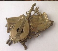 Antique-Brass-Mandolin-Sheet-Music-footed-Inkwell-Made-in-Belgium