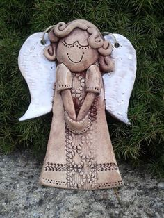 Polymer Clay Christmas, Polymer Clay Crafts, Clay Wall Art, Clay Art, Clay Angel, Pottery Angels, Ceramic Angels, Angel Crafts, Paper Clay