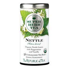 The Republic Of Tea Organic Nettle Superherb Herbal Tea, 36 Tea Bag Tin Jiaogulan Tea, Nettle Leaf Tea, Mushroom Tea, Caffeine Free Tea, Herbal Detox, Organic Herbal Tea, Tea Brands, Milk Thistle, Herbalism
