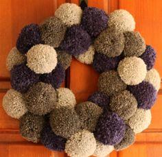 Yarn Pom Pom Wreath {Did Someone Say Party? Wreath Crafts, Yarn Crafts, Diy Crafts, Christmas Wreaths, Christmas Crafts, Christmas Decorations, Pom Pom Wreath, Pom Pom Crafts, Crafts To Make And Sell
