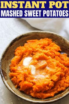 Healthy mashed sweet potatoes made in your instant pot is a delicious side dish for any occasion. Perfect for Thanksgiving or any other major Holidays. I was cooking these sweet potatoes with Thanksgiving in my Cooking Sweet Potatoes, How To Cook Potatoes, Mashed Sweet Potatoes, Appetizer Recipes, Snack Recipes, Appetizers, Ww Recipes, Family Recipes, Veggie Recipes
