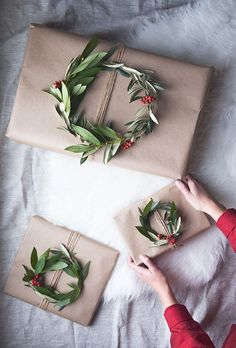 Wreath gift toppers.