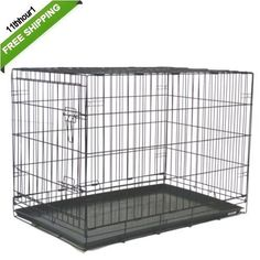 "Black Metal 48"" Xl 2 Door Pet Cage Folding Dog Cat Crate Cage Kennel Abs Tray"