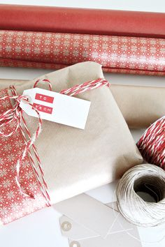 combine kraft paper with strips of traditional christmas wrapping...
