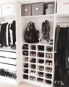 Do you need to whip your small walk-in closet into shape? You will love these Do you need to whip your small walk-in closet into shape? You will love these 17 incredible walk in closet design ideas and makeovers for some inspiration! Bedroom Closet Storage, Ikea Closet, Small Closet Organization, Master Bedroom Closet, Closet Shelves, Shoe Storage, Organization Ideas, Storage Ideas, Bedroom Organization