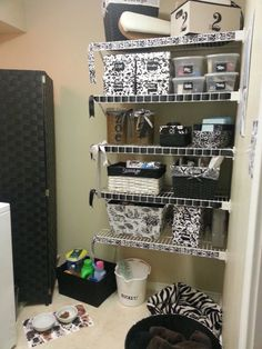 Weave ribbon through wire shelving for a custom look!!! Laundry room storage at 11 Magnolia Lane