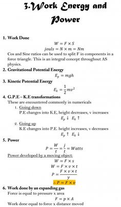 AS Level Physics Formula Sheet - Work, Energy, and power Physics Lessons, Learn Physics, Physics Concepts, How To Study Physics, Chemistry Lessons, Physics And Mathematics, Physics A Level, Physics Laws, Studio