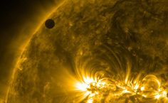 Venus transits in front of the sun.