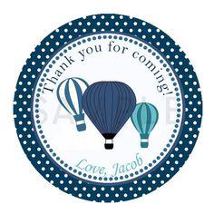 Blue Hot air balloon Cupcake Topper - balloon Baby Shower - balloon printable - red balloon sticker - hot air balloon tag - balloon label