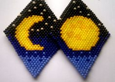 Yellow Moon Peyote Stitch Earrings by YellowMoonJewelry on Etsy… Brick Stitch Earrings, Seed Bead Earrings, Moon Earrings, Seed Beads, Hama Beads, Beaded Earrings Patterns, Beading Patterns, Bracelet Patterns, Beading Projects