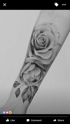 Realistic rose tattoo black and grey