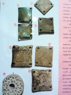 Bone tablets for tablet weaving. Museum of History, Riga.