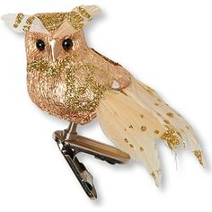 CHRISTMAS Glitter owl clip decoration. Would be perfect on my harvest tree.