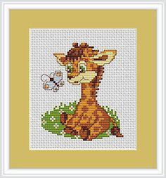 white owl cross stitch chart | Baby Giraffe & Butterfly Cross Stitch Kit - Luca S - Beginner