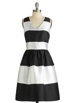 Fated Fete Dress. As you arrive at tonights soiree, one thing is clear - you and this black- and white-striped cocktail dress were meant to be! #modcloth