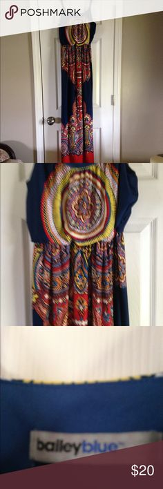 Maxi dress This is a beautiful navy, orange and white maxi dress.  Comes from smoke free home. Dresses Maxi