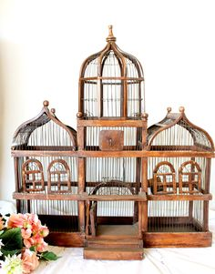 Antique Large Domed Victorian Style Wood And Wire Birdcage