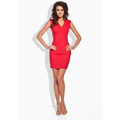 Classic Red Bodycon Fit V-Neckline Mini Dress LAVELIQ