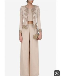 Platinoir presents Light beige jacket with crop top and palazzo pants available only at Pernia's Pop Up Shop. Hijab Fashion, Fashion Dresses, Indian Gowns, Mom Dress, Crop Top Outfits, Pakistani Outfits, Palazzo Pants, Indian Designer Wear, Classy Dress