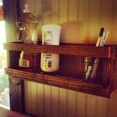Handmade shelf from pallet wood scraps and chicken wire. by Geek in the garden, via Flickr