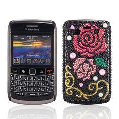 WalkNTalkOnline - Blackberry 9780 Bold Black & Pink & Gold Rose Crystal Gemstone Rhinestone Bling Diamante Protective Case + FREE SCREEN PROTECTOR/FILM/FOIL (3 LAYER TECHNOLOGY) & MICROFIBRE CLOTH