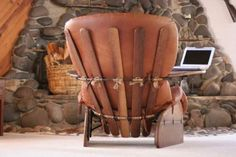 Western leather Chair with interesting detailing