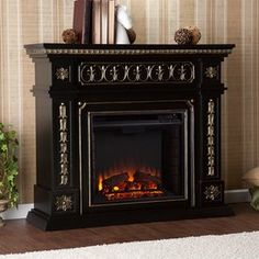 Boston Loft Furnishings 47-in W 4,700-BTU Black Wood Fan-Forced Electric Fireplace with Thermostat and Remote Control