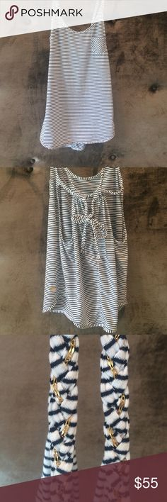 Beach Bunny Swimwear Tank Beach Bunny swimwear navy/white/silver striped tank. It has a gold chain weaved through the braided straps and an adorable bow in the back 🎀 Beach Bunny Swim Coverups