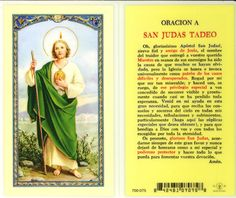 san judas tadeo oraciones | Oracion a San Judas Tadeo Holy Card (700-075) (S24-320)